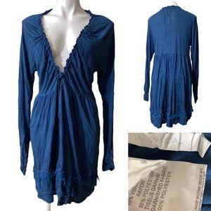 Lauren Vidal Midi Dress large Blue Lagenlook